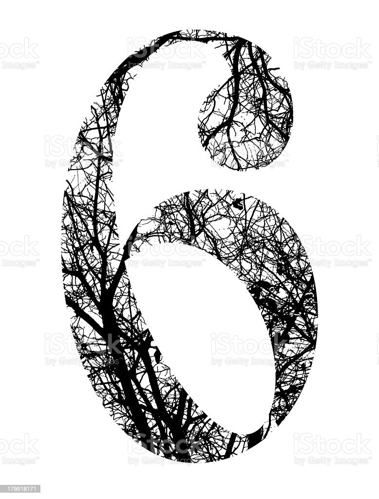 number six made from black tree branches with clipping path royalty-free stock vector art