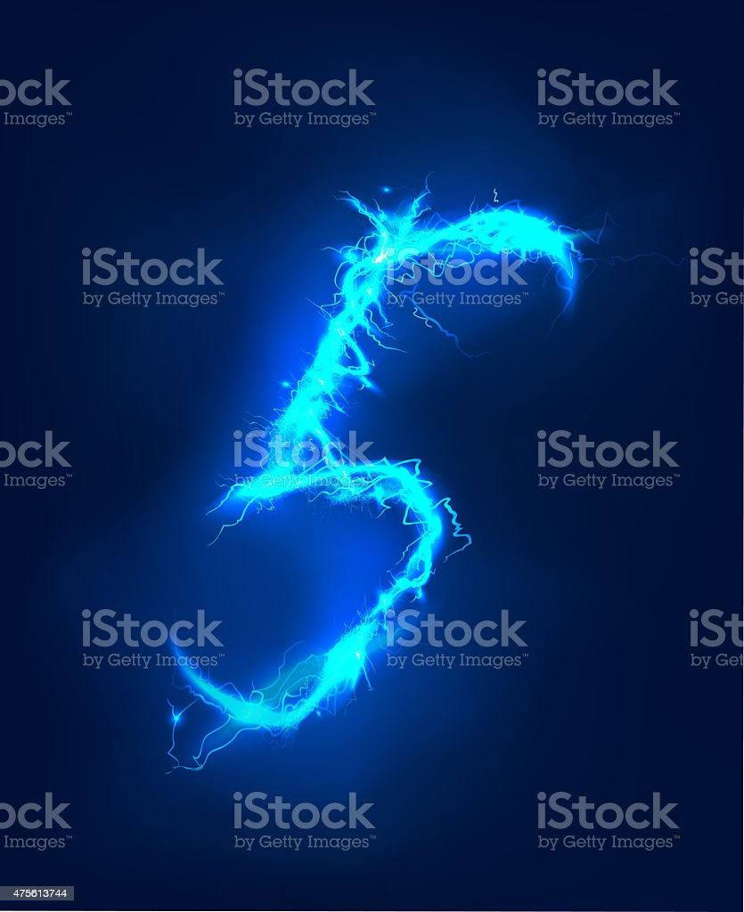 Numbers made of blue electric lighting, thunder storm effect. stock photo