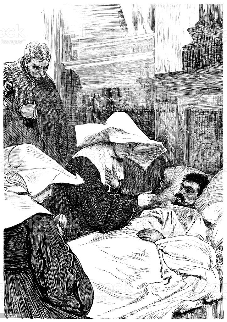 Nun blessing patient during Siege of Paris (1881 illustration) vector art illustration