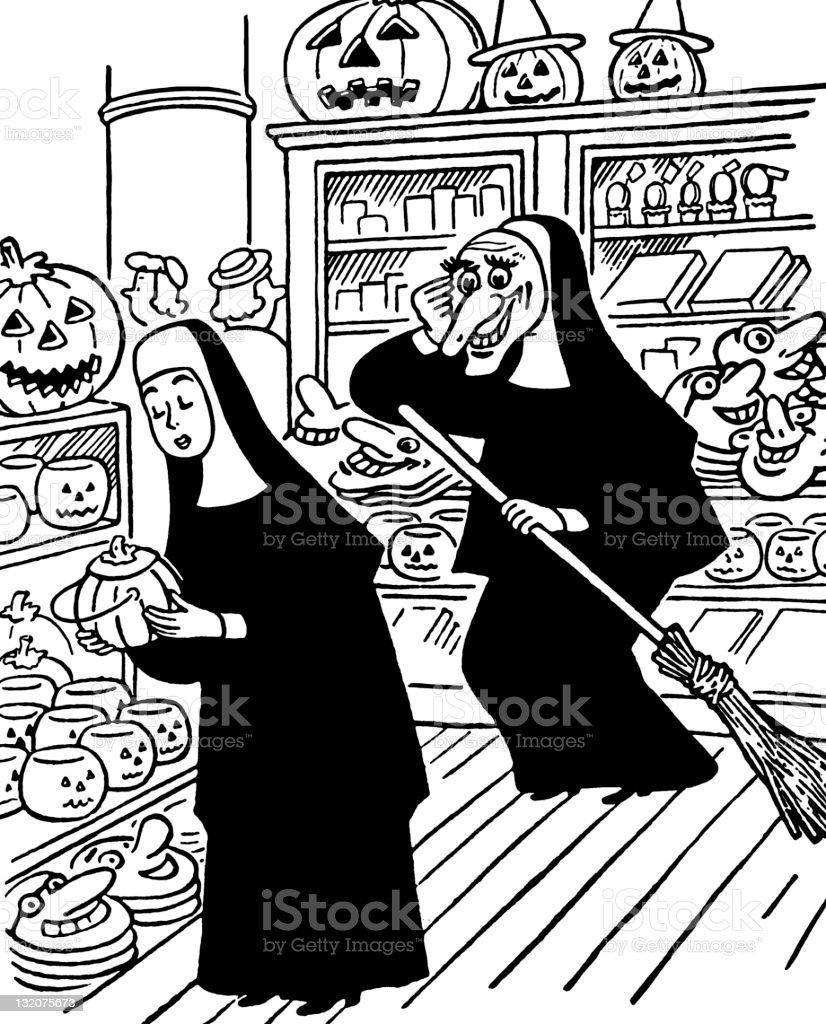 Nuns Looking at Halloween Items royalty-free stock vector art