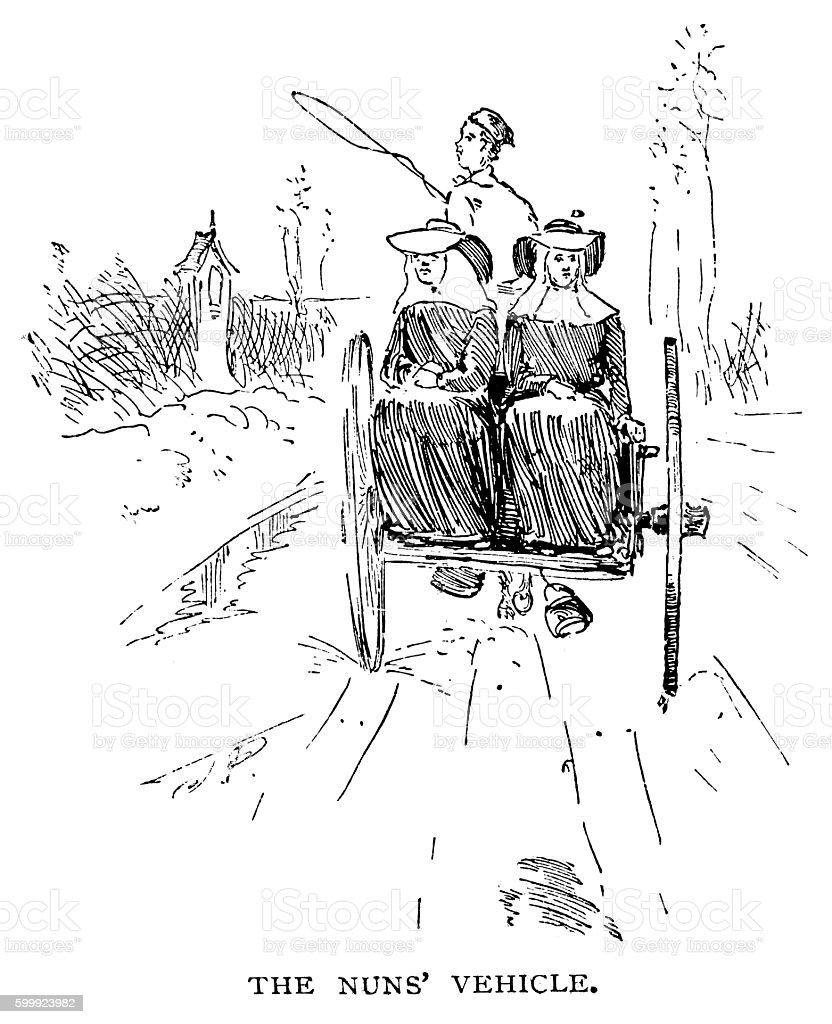 Nuns' Vehicle vector art illustration