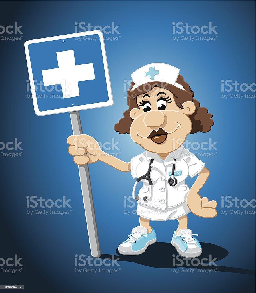 Nurse Cartoon Woman Hospital Sign royalty-free stock vector art