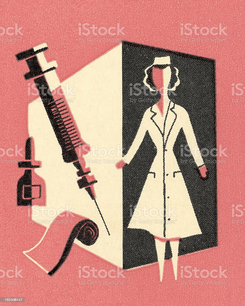 Nurse With Bandage and Needle royalty-free stock vector art