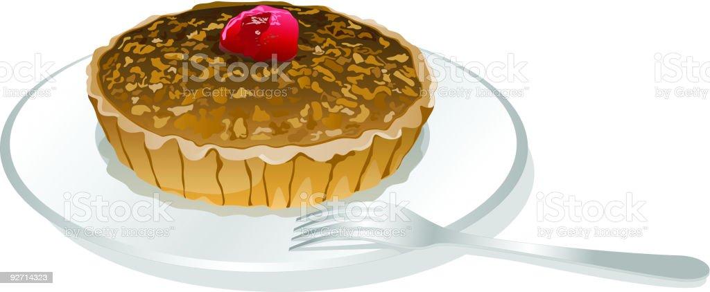 Nut and Cherry Pie vector art illustration