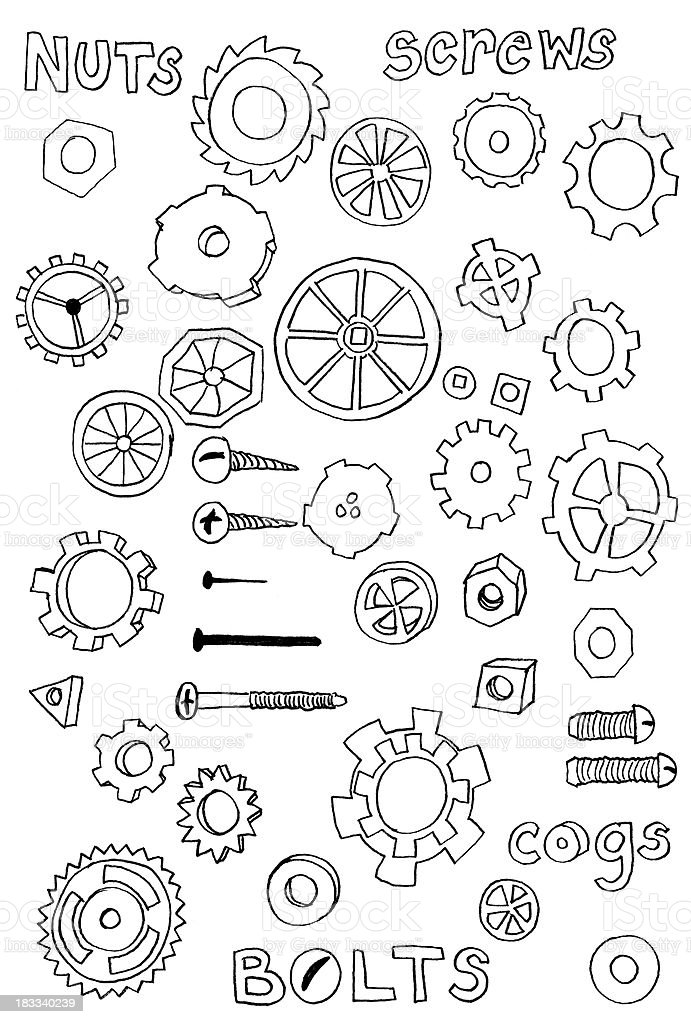 Nuts and bolts doodles vector art illustration