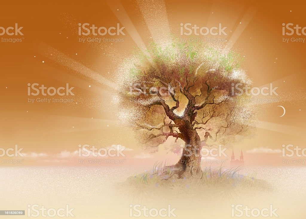 Oak with rays royalty-free stock vector art