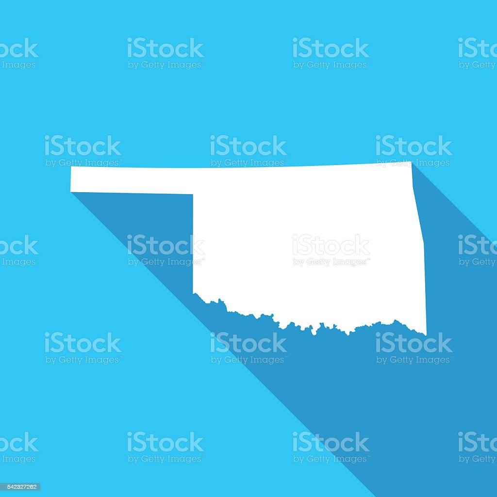 Oaklahoma long shadow map in white on a blue background vector art illustration