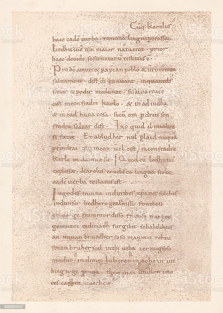 Oaths of Strasbourg, 842, oldest document of French royalty-free stock vector art