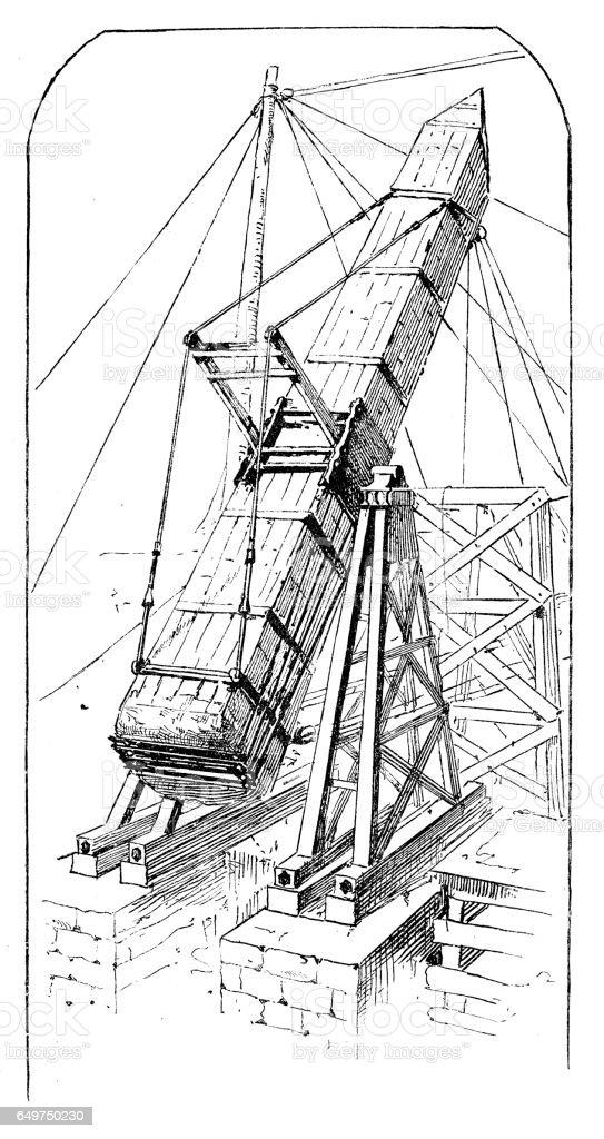 Obelisk being lowered in place in Central Park vector art illustration