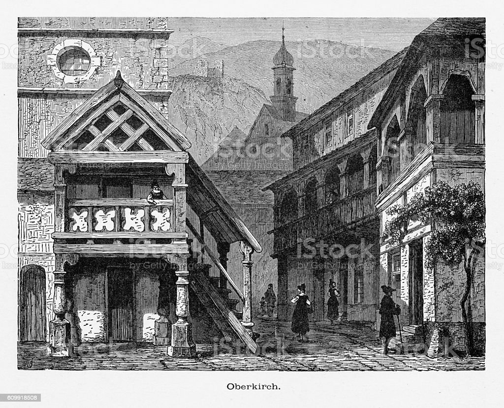 Oberkirch in the Black Forest, Strasburg, Strasbourg, Germany, Circa 1887 vector art illustration