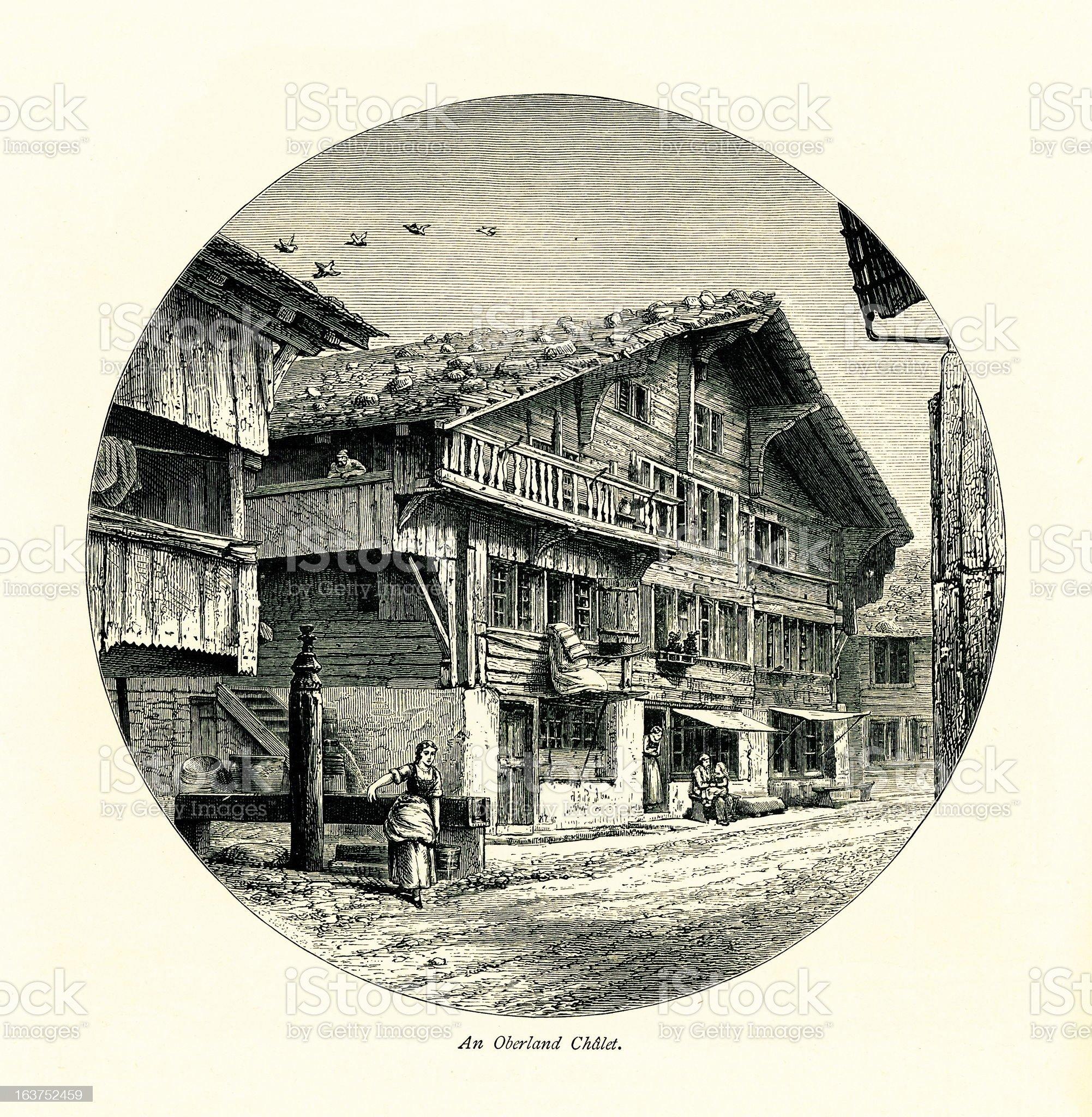 Oberland chalet, Switzerland I Antique European Illustrations royalty-free stock vector art