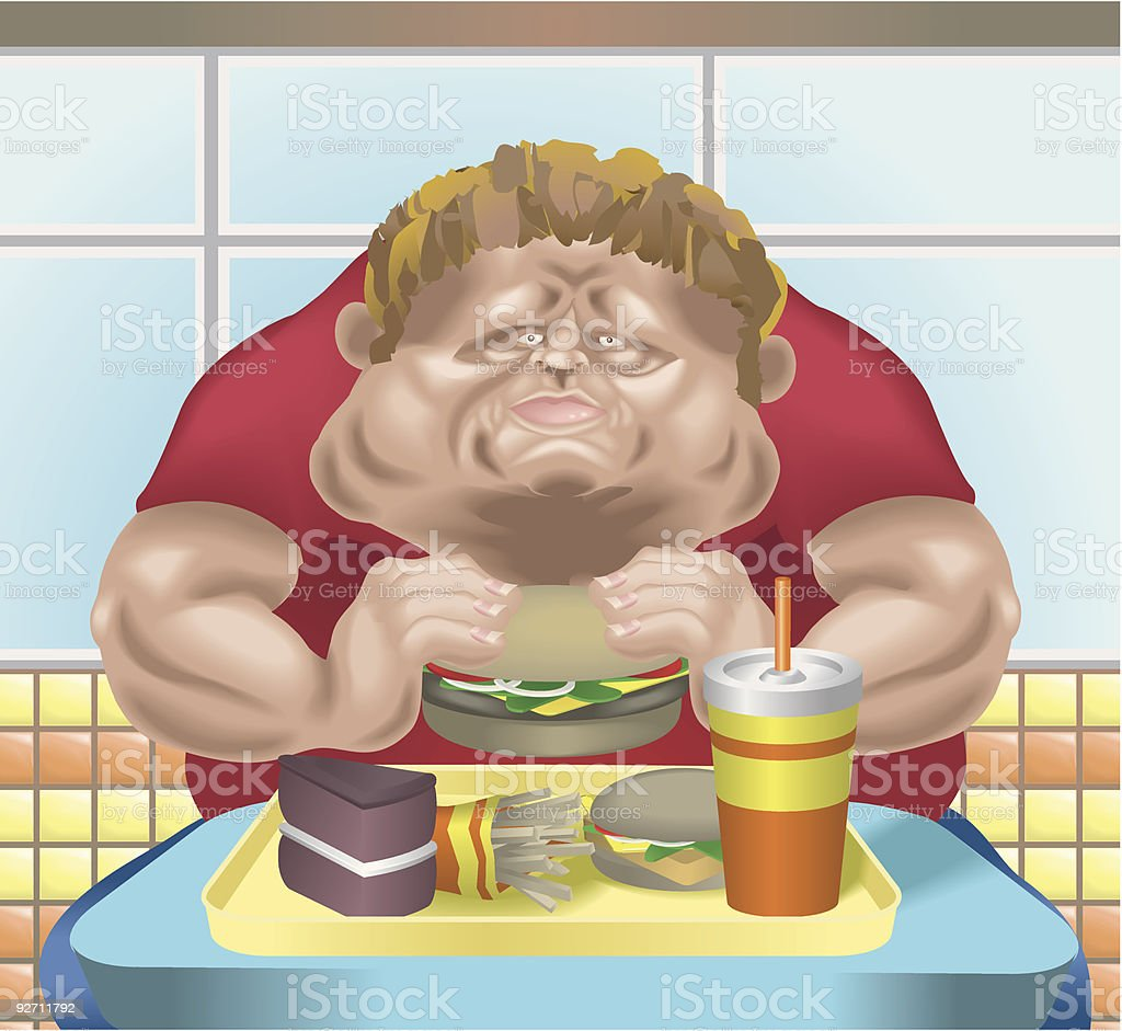 Obese man in fast food restaurant vector art illustration