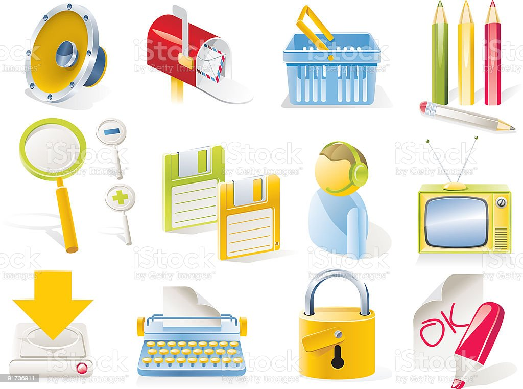 Objects icon set royalty-free stock vector art