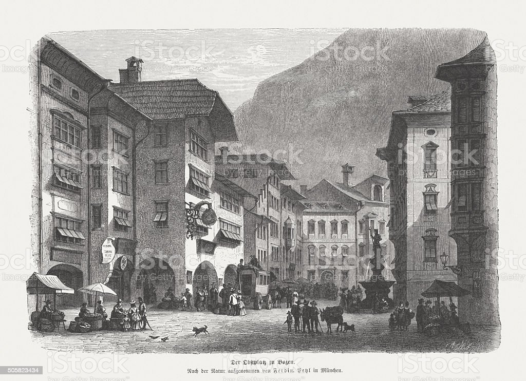 Obstplatz in Bolzano, wood engraving, published in 1873 vector art illustration