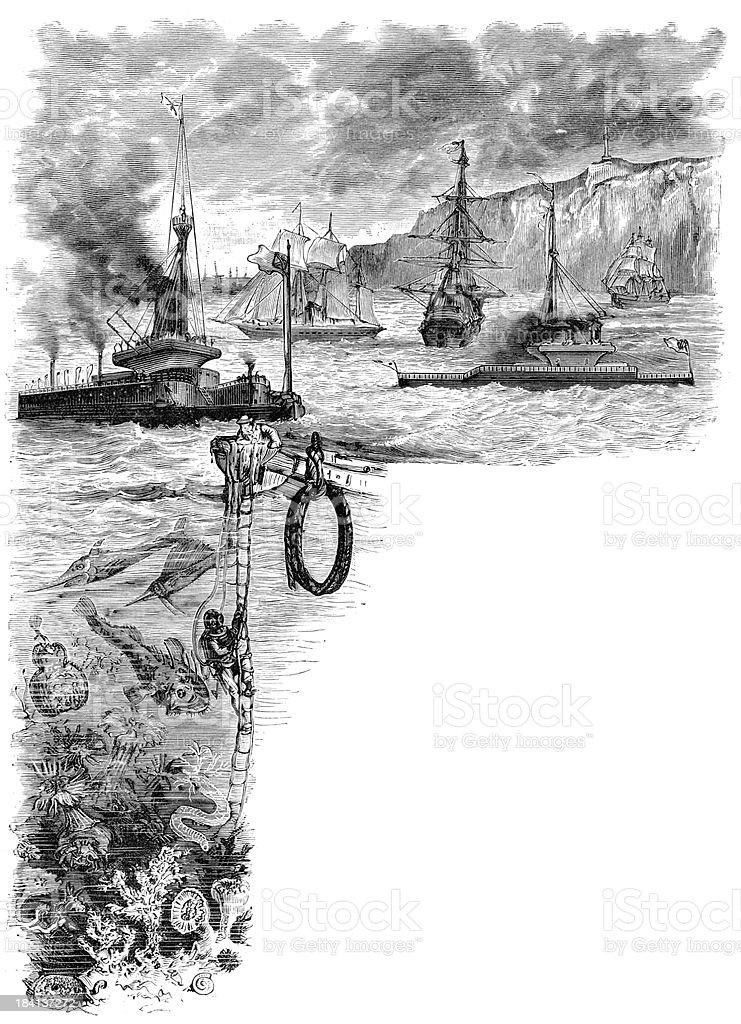 Ocean scene vector art illustration