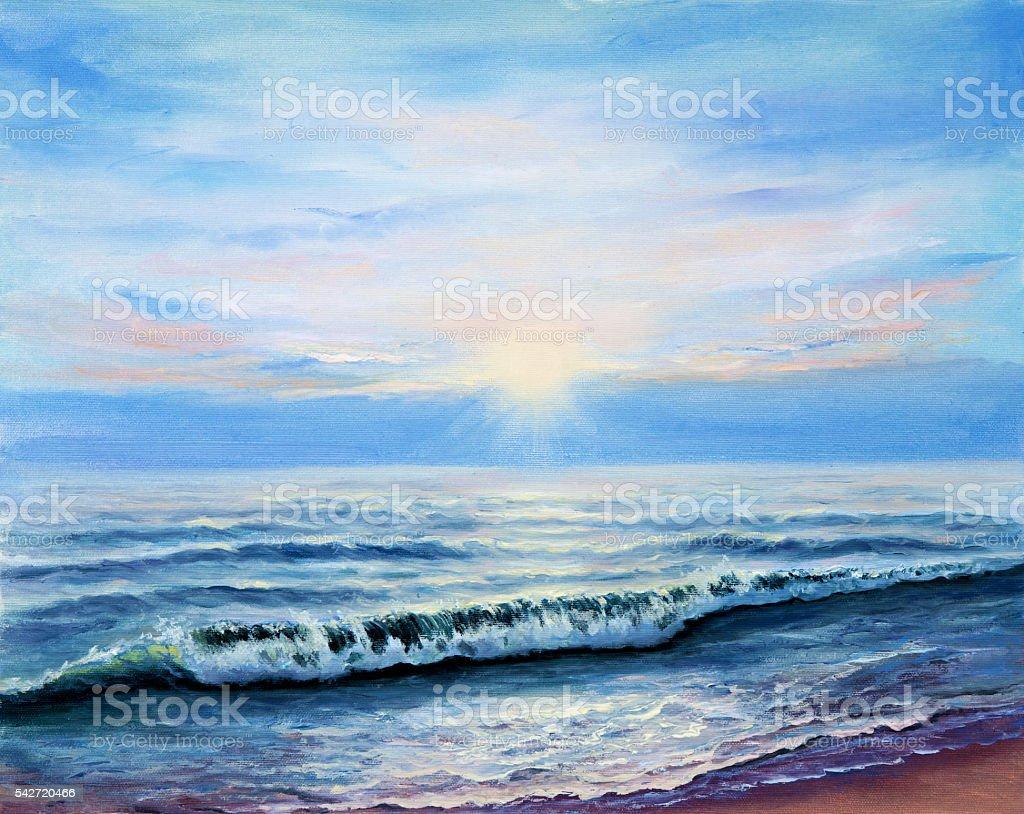 Ocean shore vector art illustration