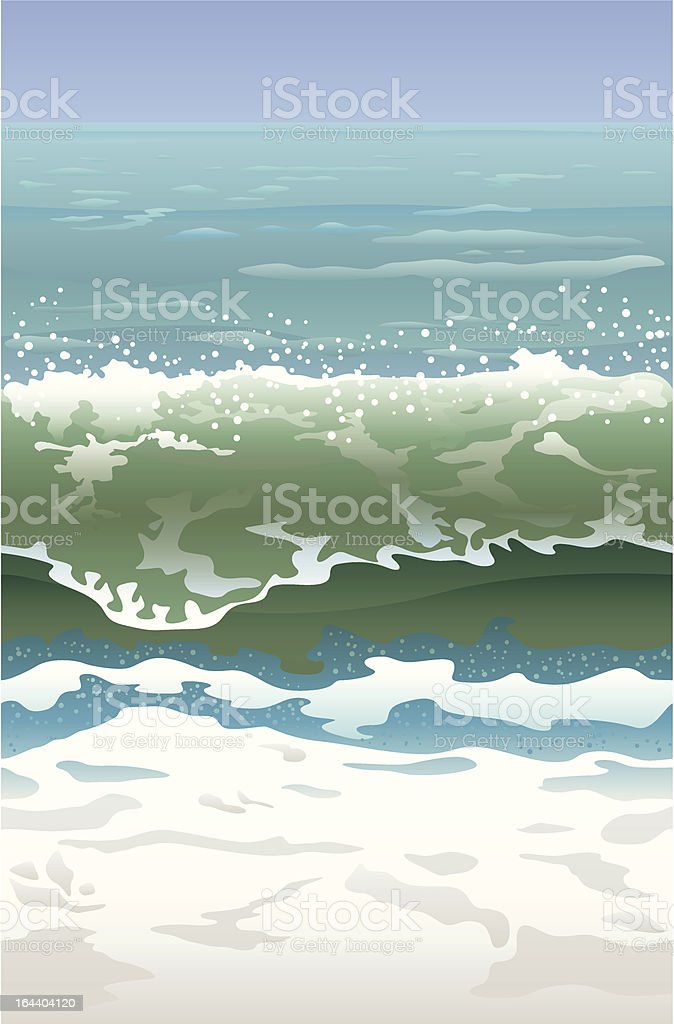 Ocean wave in front of the shore vector illustration royalty-free stock vector art