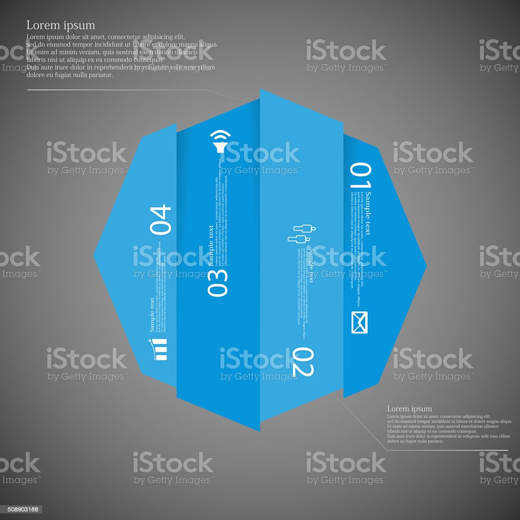 Octagon infographic template vertically divided to four blue parts stock photo