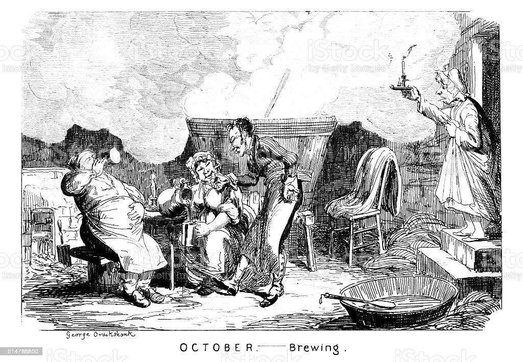 October - Brewing vector art illustration