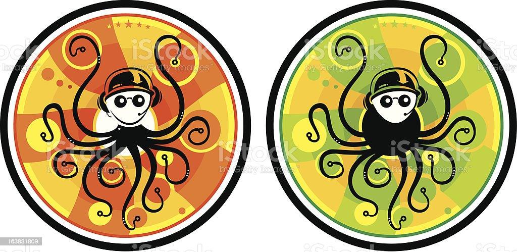 DJ Octopus royalty-free stock vector art