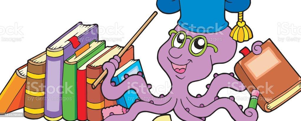 Octopus teacher with books royalty-free stock vector art