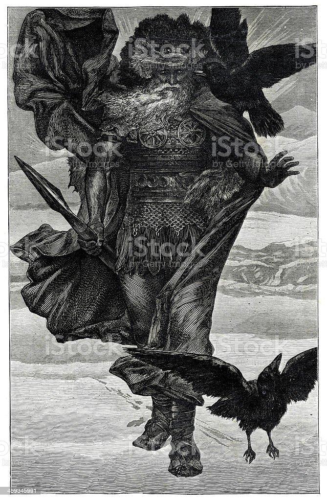 Odin the Northern God of War vector art illustration