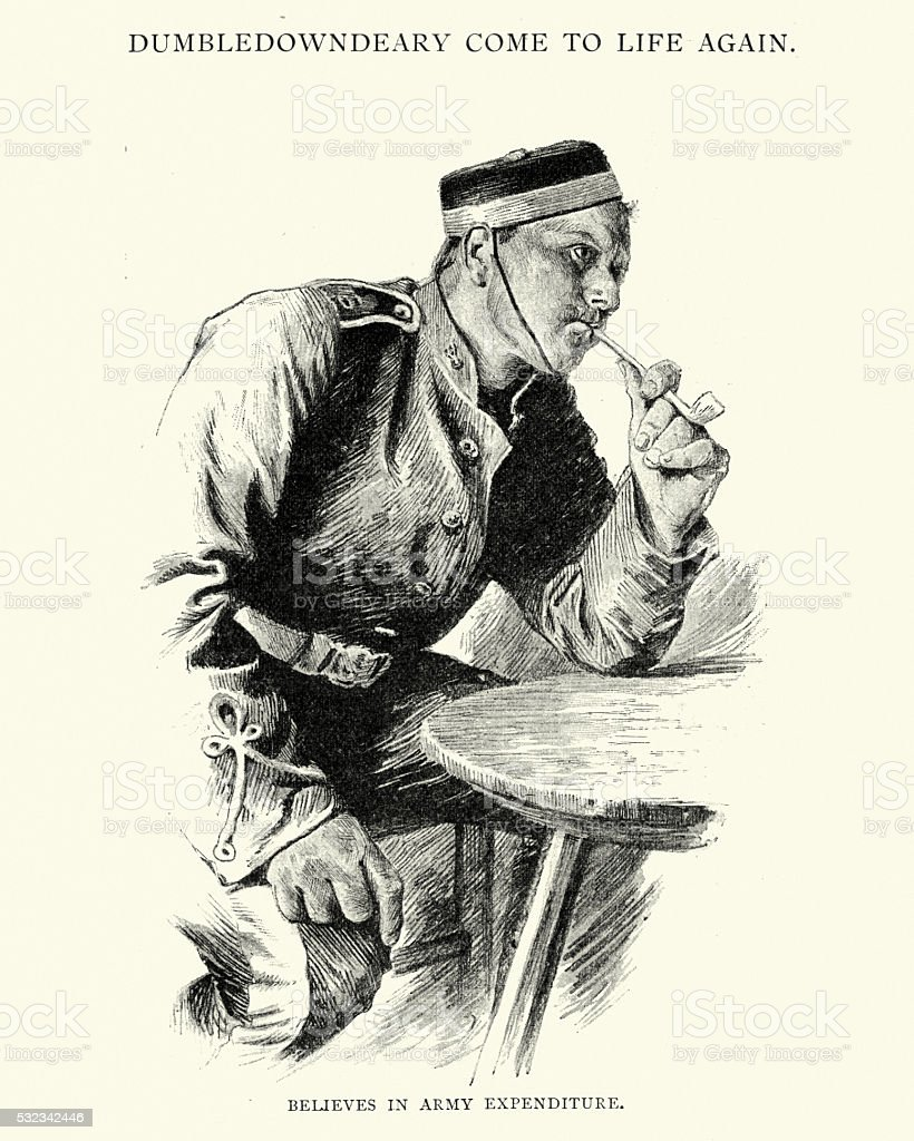 Off duty British Soldier smoking a clay pipe vector art illustration
