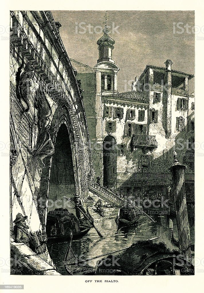 Off the Rialto Bridge, Venice, Italy I Antique European Illustrations royalty-free stock vector art