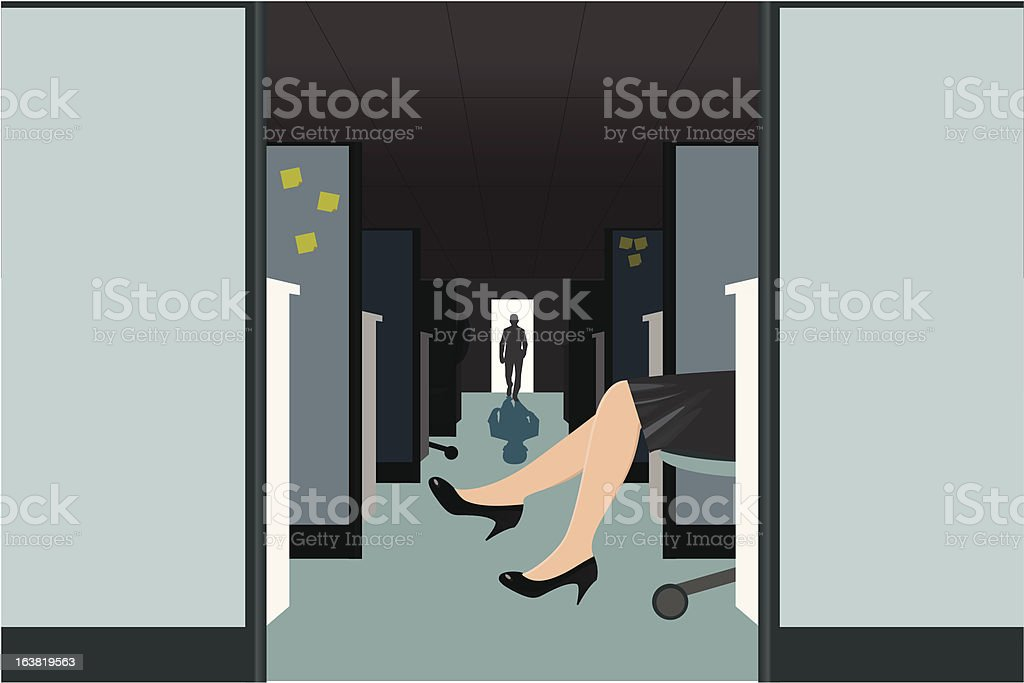 Office affair vector art illustration