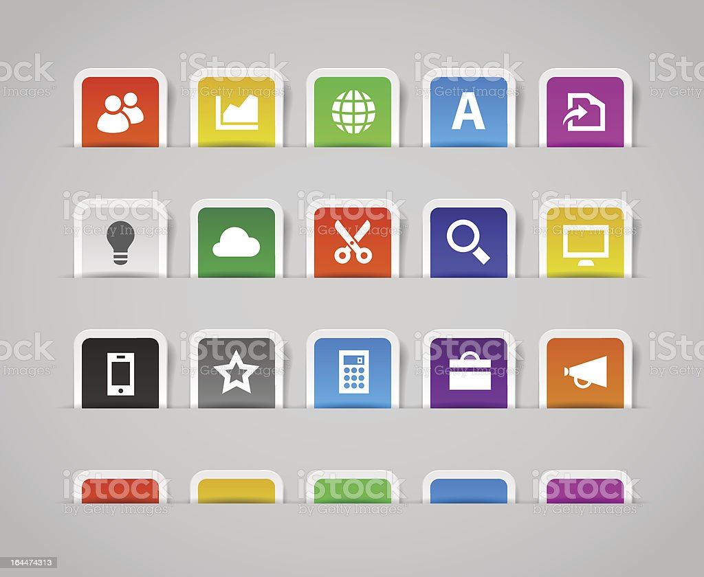 Office and web icons, set 3   Paper labels vector art illustration