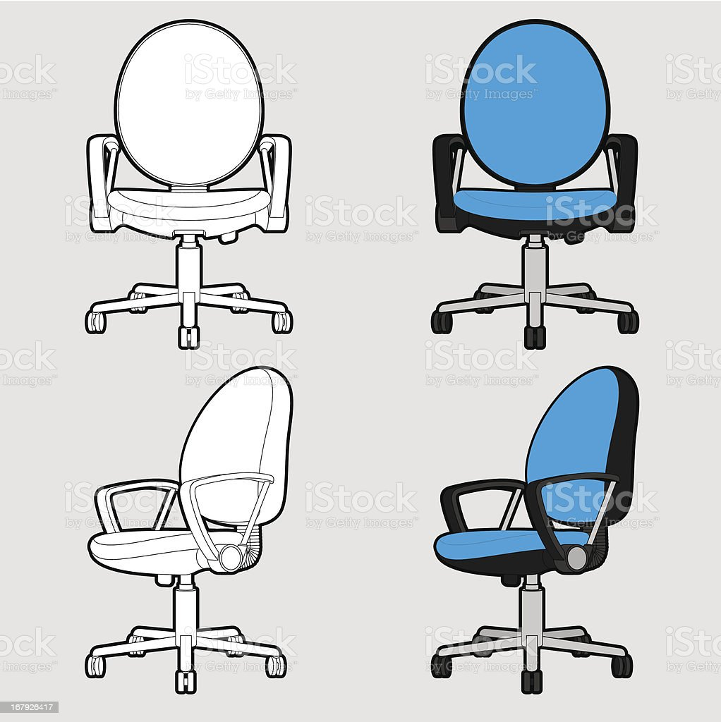 Office chair - Outline & Toon royalty-free stock vector art