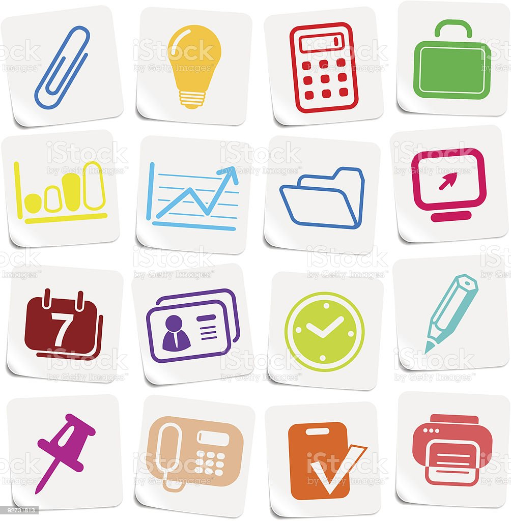 Office icons royalty-free stock vector art