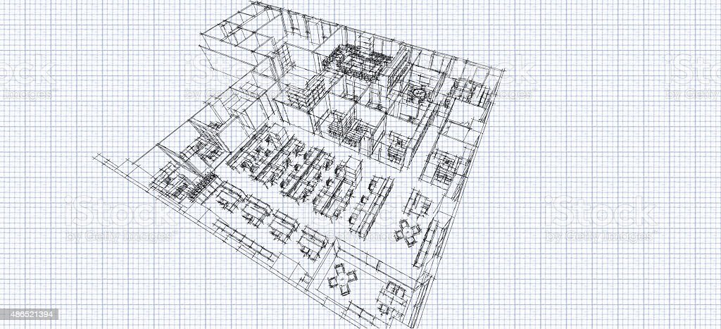 Office isometric sketch line vector art illustration