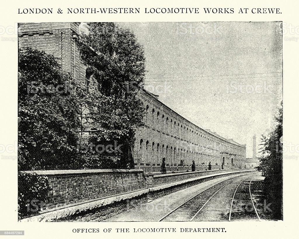 Office of the Locomotive Department, Crewe, England, 1892 vector art illustration