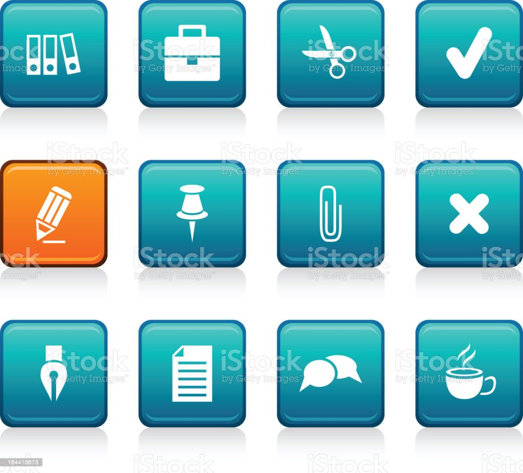 Office square icons. vector art illustration