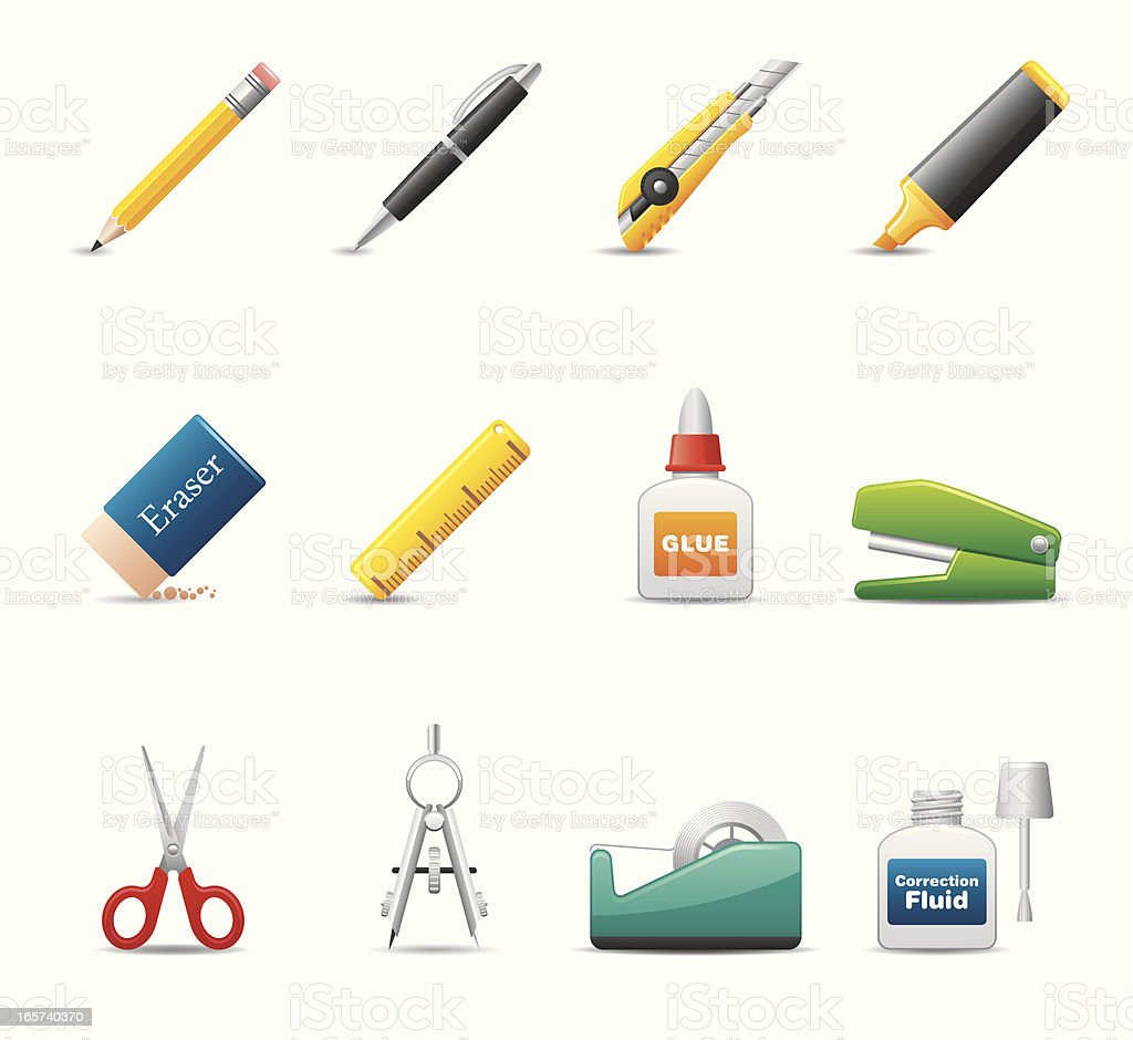 Office Supply Icon Set | Elegant Series royalty-free stock vector art