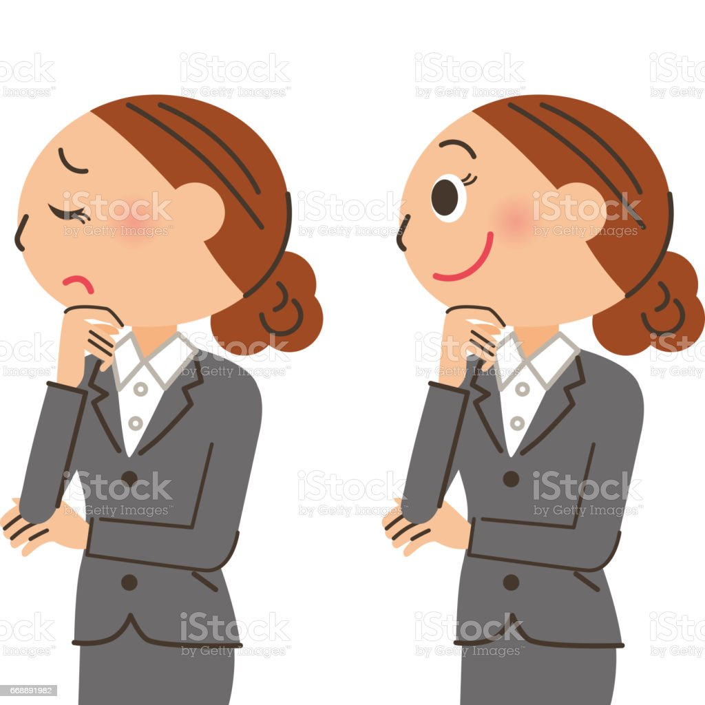 Office worker woman expression vector art illustration