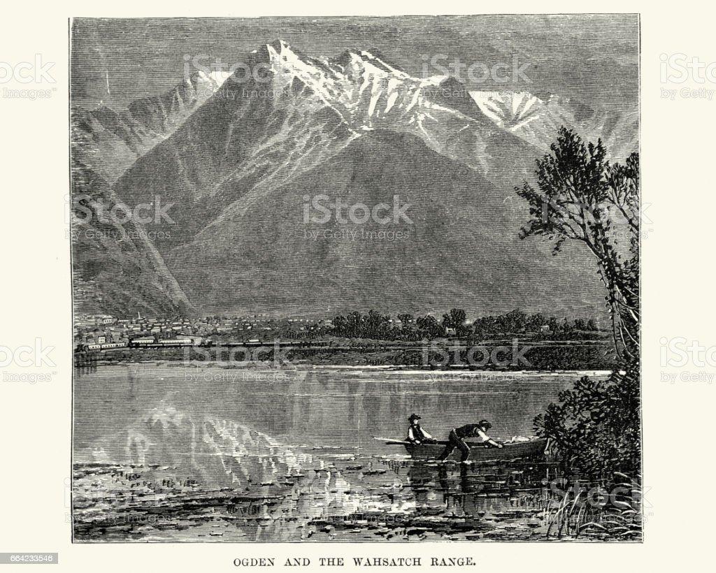 Ogden and the Wahsatch Range, Utah 19th Century vector art illustration