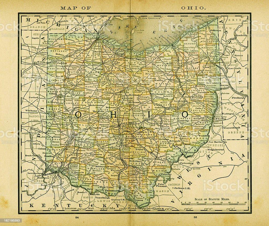Ohio | USA Antique Maps High Resolution vector art illustration