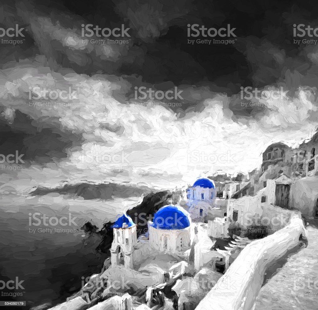 Oia village in Santorini island, Greece, Oil painting, ART STYLE vector art illustration