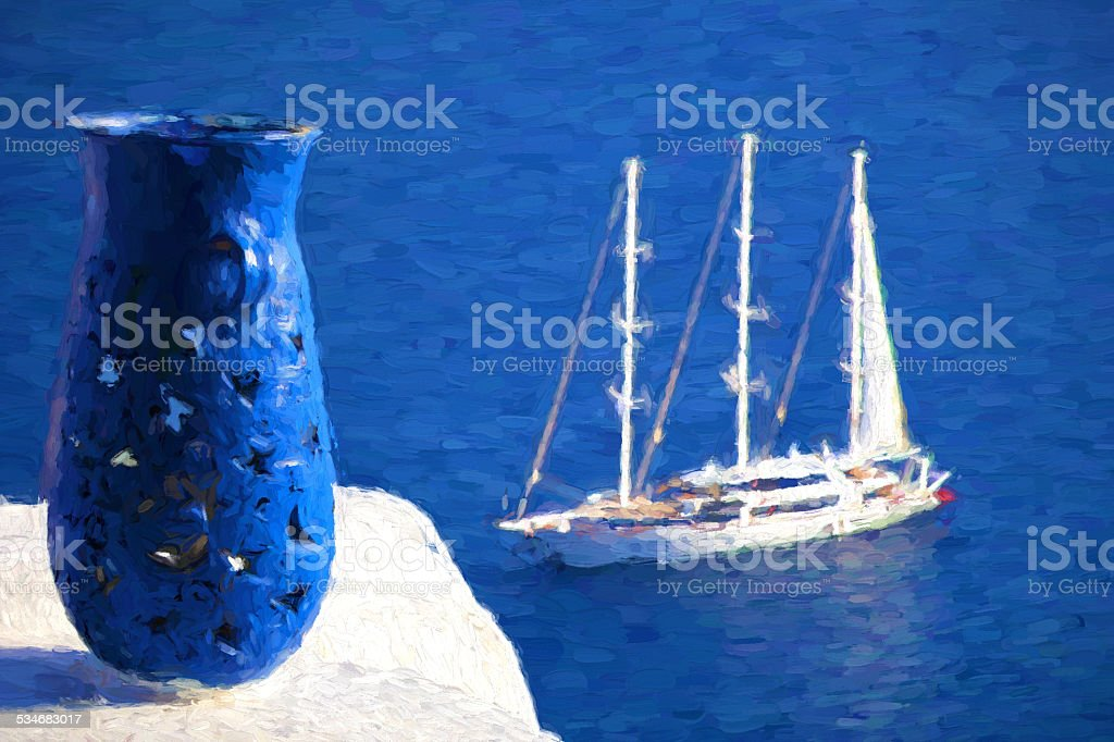 Oia village with boat, Santorini island, Greece, Oil painting vector art illustration