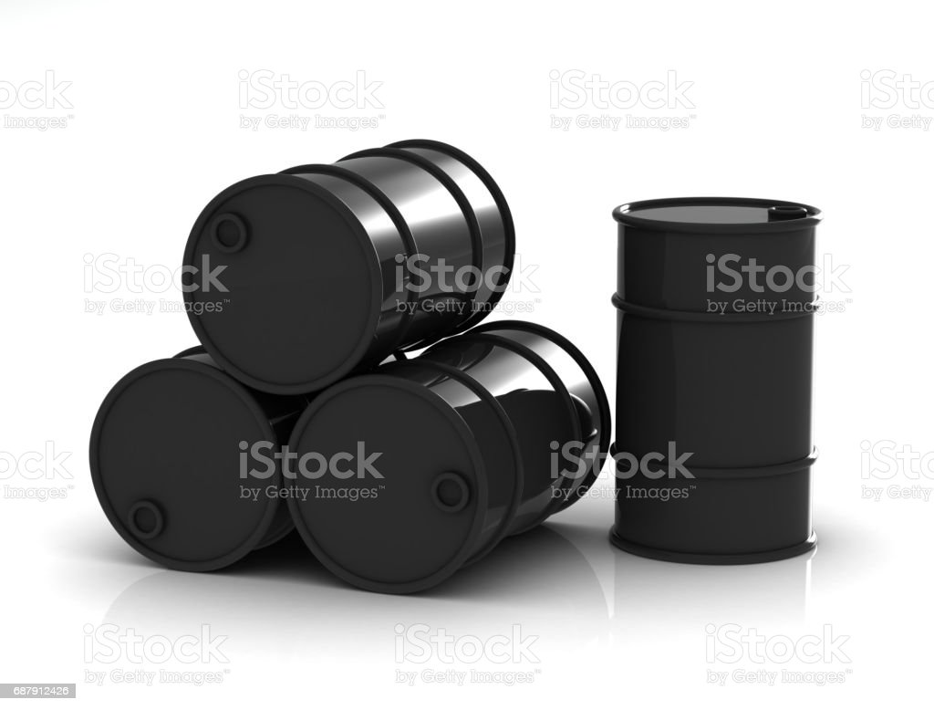 Oil barrels on a white background.3D rendering stock photo