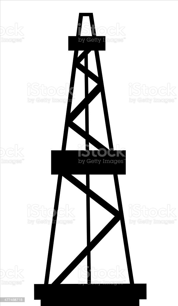 Oil Derrick silhouette royalty-free stock vector art