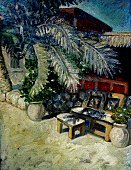 Oil drawing Oriental courtyard and the old palm tree