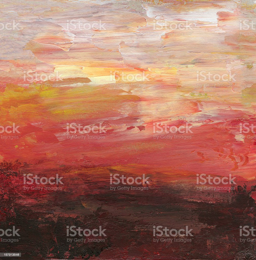 Oil painted abstract background in sunset colors royalty-free stock vector art