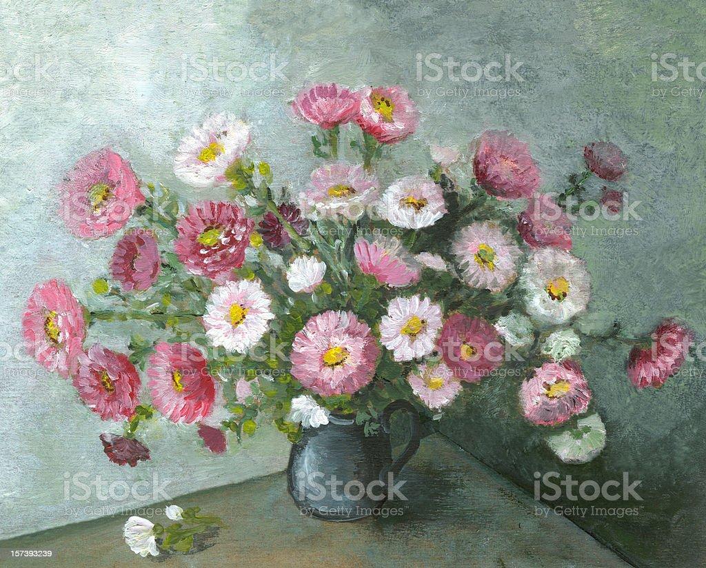 Oil painted aster multicolored flowers arrangement in ceramic black vase vector art illustration