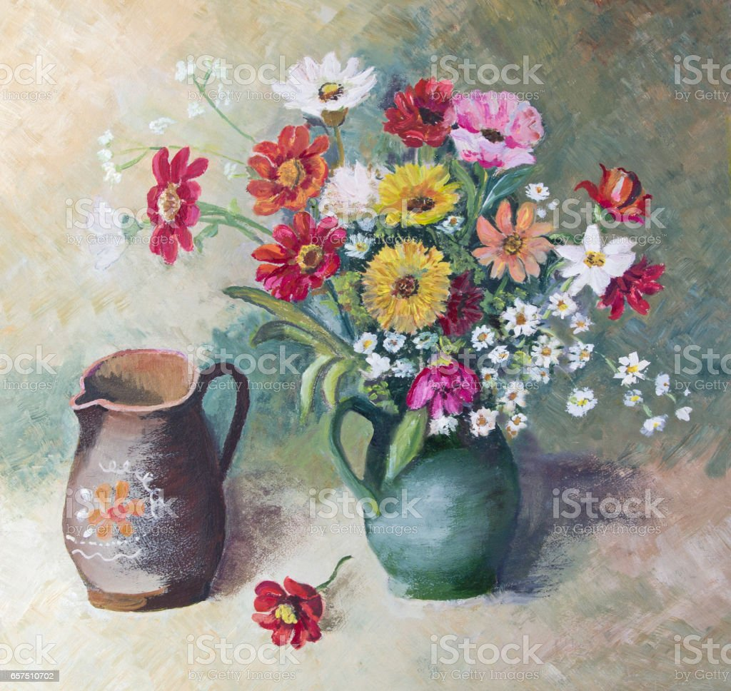 Oil painted flower arrangement still life with two vases vector art illustration
