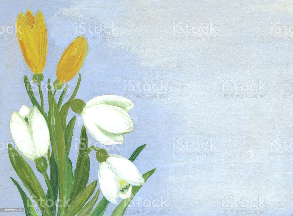 Oil Painted Springtime Flowers royalty-free stock vector art