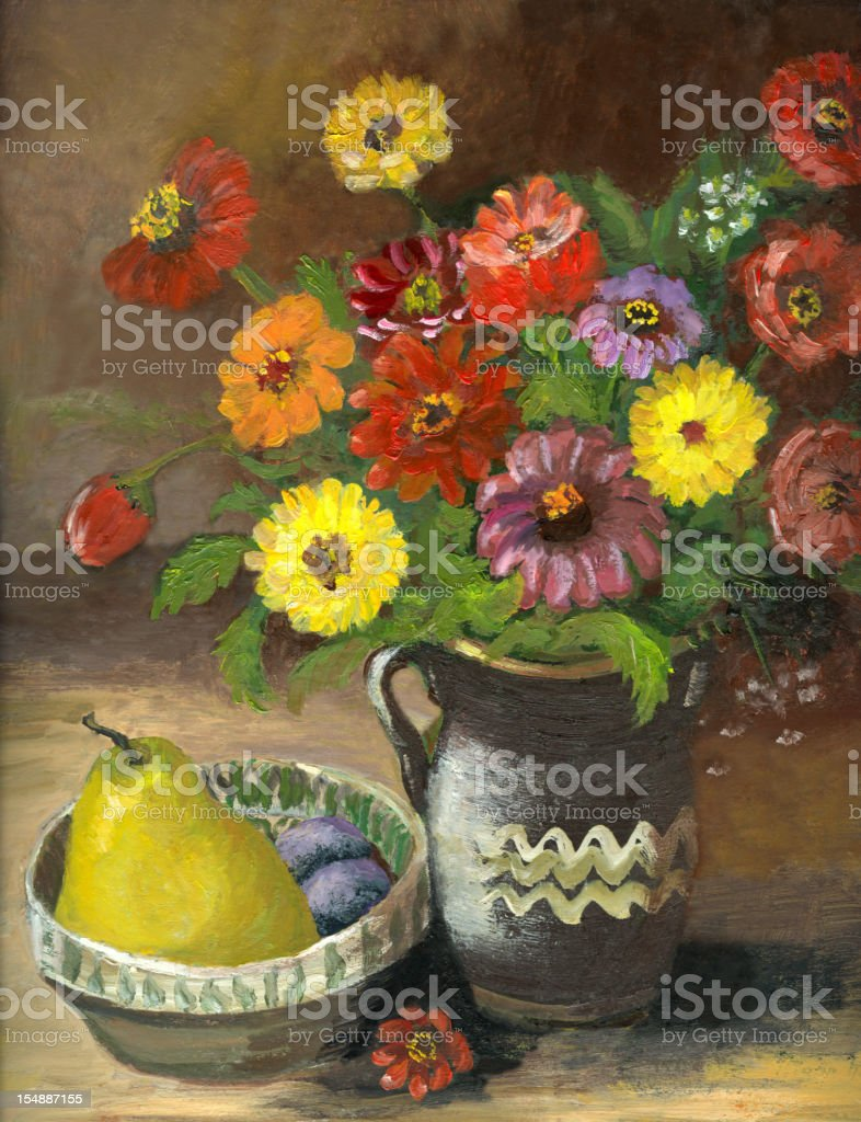Oil painted still life with flowers,pear and plums vector art illustration