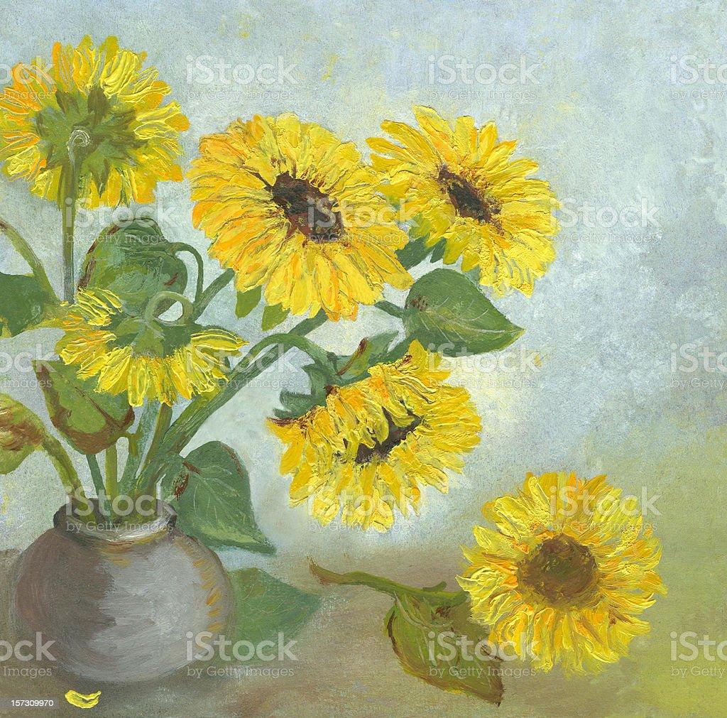 Oil painted sunflowers arrangement vector art illustration